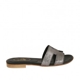 Woman's mules in lead grey printed laminated leather heel 1 - Available sizes:  33, 34, 42, 43, 44, 45, 46, 47