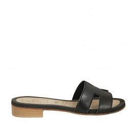 Mule pour femmes en cuir noir talon 2 - Pointures disponibles:  33, 34, 42, 43, 44, 45, 46, 47