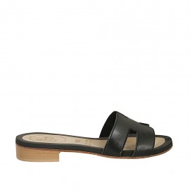 Woman's mules in black leather heel 2 - Available sizes:  33, 34, 42, 43, 44, 45, 46, 47