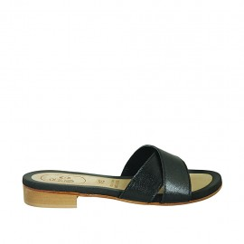 Woman's mules in black-colored leather heel 2 - Available sizes:  33, 34, 42, 43, 44, 45, 46, 47