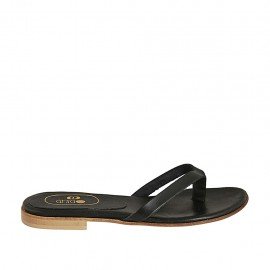 Woman's thong mules in black leather heel 1 - Available sizes:  33, 34, 42, 43, 44, 45, 46, 47