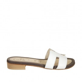 Woman's mules in white leather heel 2 - Available sizes:  33, 34, 42, 43, 44, 45, 46, 47