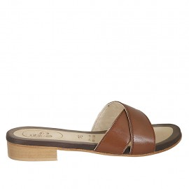 Woman's mules in tan-colored leather heel 2 - Available sizes:  33, 34, 42, 43, 44, 45, 46, 47