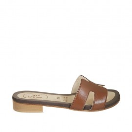 Woman's mules in tan leather heel 2 - Available sizes:  34, 42, 43, 44, 45, 47
