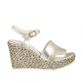 Woman's strap sandal in platinum laminated leather and braided fabric with platform and wedge heel 9 - Available sizes:  31, 32, 33, 34