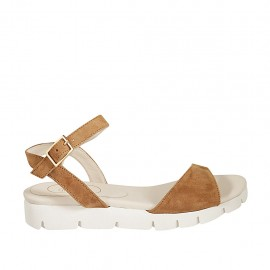Woman's strap sandal in tan brown suede wedge heel 3 - Available sizes:  33, 34, 42, 43, 44, 45, 46, 47