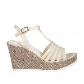 Woman's T-strap sandal in light beige patent leather and fabric with platform and wedge heel 9 - Available sizes:  31, 32, 33, 34