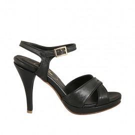 Sandale pour femmes en cuir noir avec courroie, plateforme et talon 9 - Pointures disponibles:  32, 33, 34, 42, 43, 44, 45, 46, 47