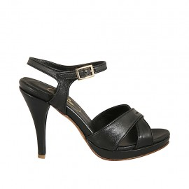 Woman's strap sandal in black leather with platform and heel 9 - Available sizes:  32, 33, 34, 42, 43, 44, 45, 46, 47