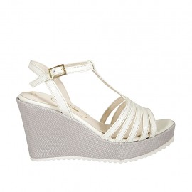 Woman's T-strap sandal in white leather and silver laminated fabric with platform and wedge heel 9 - Available sizes:  31, 32, 33, 34