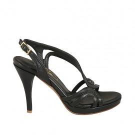 Sandale pour femmes en cuir noir avec plateforme et talon 9 - Pointures disponibles:  32, 33, 34, 42, 43, 44, 45, 46