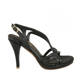 Woman's sandal in black leather with platform and heel 9 - Available sizes:  32, 33, 34, 42, 43, 44, 45, 46