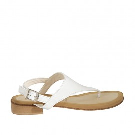 Woman's thong sandal in white leather heel 2 - Available sizes:  34, 42, 43, 44, 45, 46, 47
