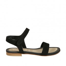 Woman's sandal with velcro strap in black suede heel 1 - Available sizes:  33, 34, 42, 43, 44, 45, 46, 47