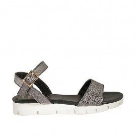 Woman's strap sandal in lead grey laminated leather with rocklike texture and wedge heel 2 - Available sizes:  33, 34, 42, 43, 44, 46, 47
