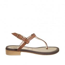 Sandalo infradito da donna in pelle color cuoio tacco 2 - Misure disponibili: 33, 34, 42, 43, 44, 45, 46, 47