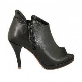 Zapato abierto con cremalleras y plataforma en piel negra tacon 9 - Tallas disponibles:  32, 33, 34, 42, 43, 45, 47