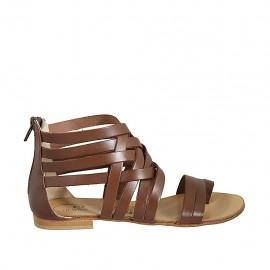 Zapato abierto infradedo para mujer con cremallera en piel color cuero tacon 1 - Tallas disponibles:  33, 34, 42, 43, 44, 45, 46, 47