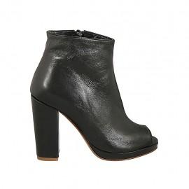 Chaussure ouverte en cuir noir avec fermeture éclair, plateforme et talon carré 10 - Pointures disponibles:  32, 33, 34, 42, 43, 44, 45, 46