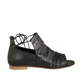 Chaussure ouverte à lacets pour femmes en cuir noir talon 1 - Pointures disponibles:  33, 34, 42, 43, 44, 45, 46, 47