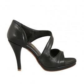 Zapato abierto para mujer en piel negra con plataforma y tacon 9 - Tallas disponibles:  32, 33, 34, 42, 43, 44, 45, 46, 47