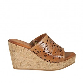 Woman's open mules in tan brown pierced leather with platform and wedge heel 9 - Available sizes:  32, 33, 34, 42, 43, 44, 45
