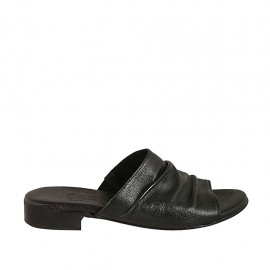 Woman's mules in black wrinkled leather heel 2 - Available sizes:  33, 34, 42, 43, 44, 45