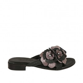 Woman's mules with flower in black printed leather and grey laminated leather heel 2 - Available sizes:  32, 33, 34, 42, 43, 44, 45