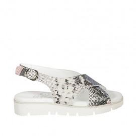 Sandalo da donna in pelle stampata multicolore zeppa 3 - Misure disponibili: 33, 34, 42, 43, 44, 45