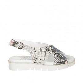 Woman's sandal in multicolored printed leather wedge heel 3 - Available sizes:  33, 34, 42, 43, 44, 45