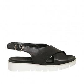 Sandalo da donna in pelle nera zeppa 3 - Misure disponibili: 33, 34, 42, 43, 44, 45