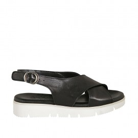 Woman's sandal in black leather wedge heel 3 - Available sizes:  33, 34, 42, 43, 44, 45