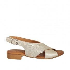 Sandalo da donna in pelle laminata e stampata platino tacco 2 - Misure disponibili: 33, 34, 42, 43, 44, 45