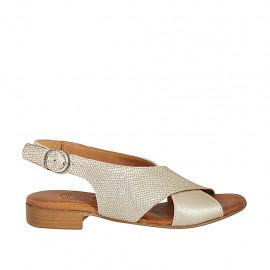 Woman's sandal in platinum laminated and printed leather heel 2 - Available sizes:  33, 34, 42, 43, 44, 45