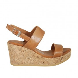 Woman's sandal in tan leather with platform and wedge heel 7 - Available sizes:  32, 33, 34