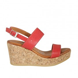 Woman's sandal in red leather with platform and wedge heel 7 - Available sizes:  32, 33, 34