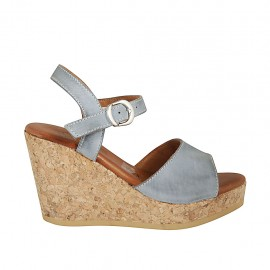 Woman's sandal in blue grey leather with platform and wedge 9 - Available sizes:  32, 33, 34