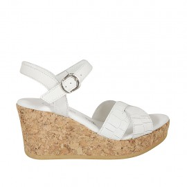 Woman's sandal in white printed leather with strap, platform and wedge 7 - Available sizes:  32, 33, 34