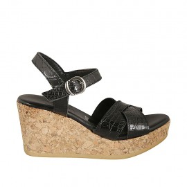 Woman's sandal in black printed leather with strap, platform and wedge heel 7 - Available sizes:  32, 33, 34