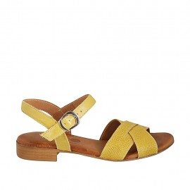 Woman's strap sandal in yellow leather and printed leather heel 2 - Available sizes:  33, 34, 42, 43, 44