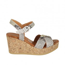 Woman's strap sandal with platform in multicolored printed leather wedge heel 7 - Available sizes:  32, 33, 34