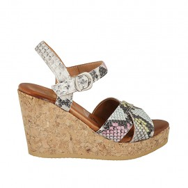 Woman's strap sandal with platform in multicolored printed leather wedge heel 9 - Available sizes:  32, 33, 34