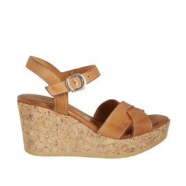Woman's strap sandal in tan leather with platform and wedge 7 - Available sizes:  32, 33, 34