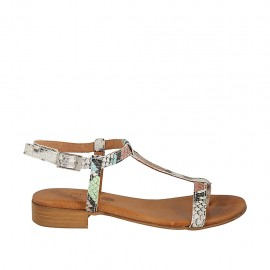 Woman's flip-flop sandal with strap in multicolored printed leather heel 2 - Available sizes:  33, 34, 42, 43, 44, 45