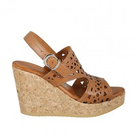 Woman's sandal in tan-colored pierced leather with platform and wedge 9 - Available sizes:  32, 33, 34
