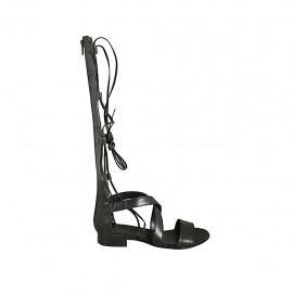Offener Damenschuh im Gladiatorstil mit Reissverschluss und Schnüren aus schwarzem Leder Absatz 2 - Verfügbare Größen:  33, 34, 42, 43, 44
