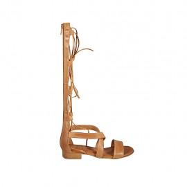 Zapato abierto estilo gladiador para mujer con cremallera y cordones en piel color cuero tacon 2 - Tallas disponibles:  33, 34, 42, 43, 44, 45