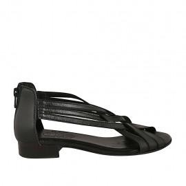 Zapato abierto con cremallera para mujer en piel negra tacon 2 - Tallas disponibles:  33, 34, 42, 43, 44, 45
