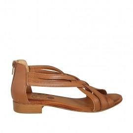 Zapato abierto con cremallera para mujer en piel de color cuero tacon 2 - Tallas disponibles:  33, 34, 42, 43, 44, 45