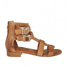Zapato abierto para mujer con cremallera y hebillas en piel color cuero tacon 2 - Tallas disponibles:  33, 34, 42, 43, 44, 45